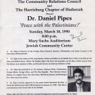 "American Historian DANIEL PIPES Signed Article ""Peace with the Palestinians?"" 1990"