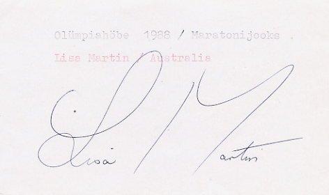 1988 Seoul Marathon Silver LISA MARTIN Autograph 1988