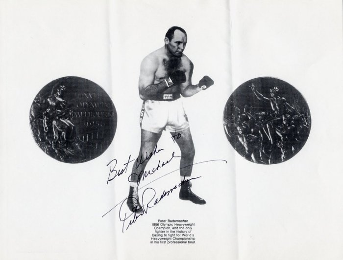 1956 Melbourne Boxing Gold PETE RADEMACHER Hand Signed 8x11