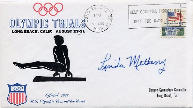1964-68-72 Gymnastics Olympian LINDA METHENY Autographed Olympic Trials Cover 1968