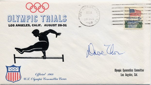 1968 Mexico City Gymnastics Olympian DAVID THOR Autographed Olympic Trials Cover 1968