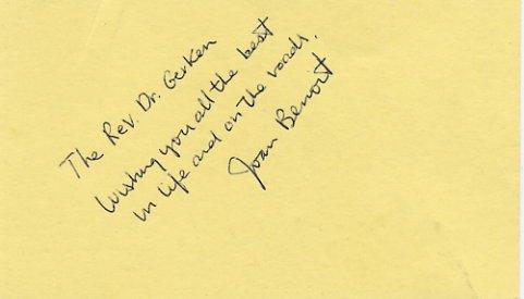 1984 Los Angeles Athletics Marathon Gold & Boston Marathon JOAN BENOIT Autograph Note Signed 1981