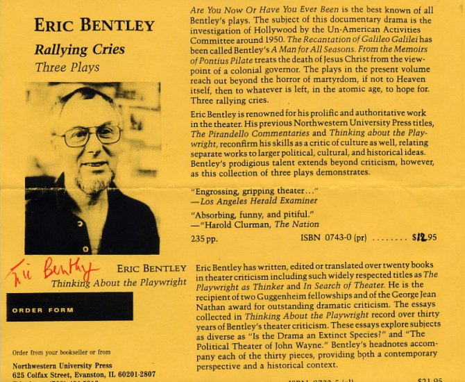 Renowned American Theatre Critic & Playwright ERIC BENTLEY Autographed Print