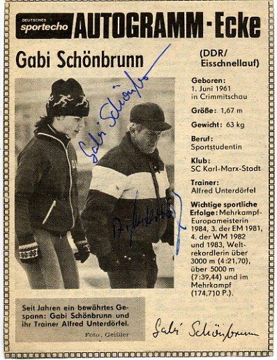 1984 Sarajevo & 1988 Calgary Speed Skating Medalist GABI SCHONBRUNN & Coach Autographs 1984