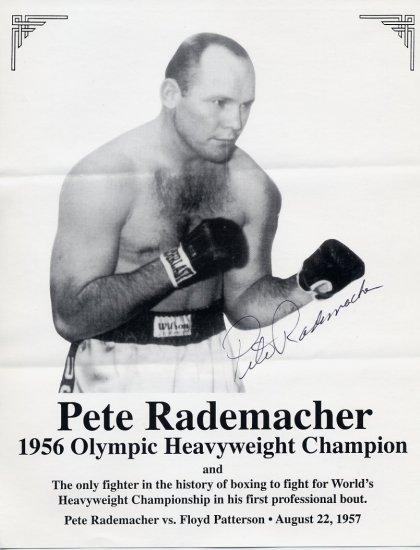 1957 PETE RADEMACHER vs. FLOYD PATTERSON Hand Signed 8x11