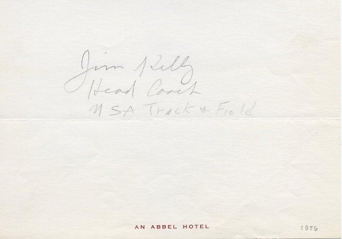 Legendary Minnesota & 1956 Olympic Track Coach JIM KELLY Autograph Note Signed 1956
