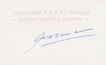 1948 London & 1952 Helsinki Field Hockey Medalist  ANDRIES BOERSTRA Autograph 1980s