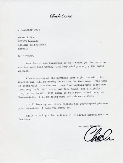 Jazz Legend CHICK COREA Typed Letter Signed 1994