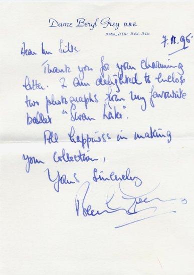 Ballerina Dame BERYL GREY Autograph Letter Signed 1995