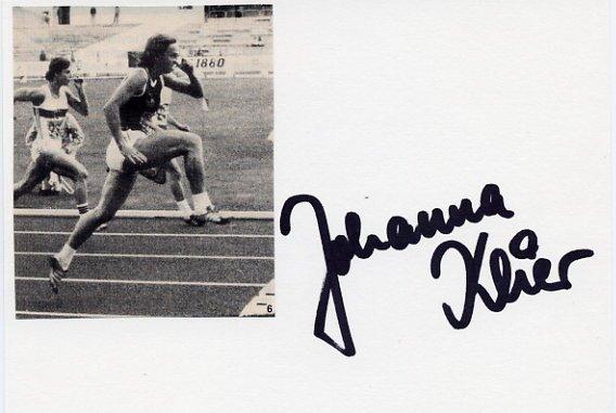1976 Montreal Athletics 100 m Hurdles Gold JOHANNA KLIER Autograph