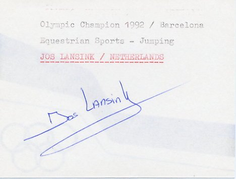 1992 Barcelona Equestrian Gold JOS LANSINK Autograph 1992