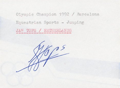 1992 Barcelona Equestrian Gold JAN TOPS Autograph 1992