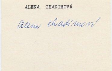 1952 Helsinki Gymnastics Bronze ALENA CHADIMOVA Autograph