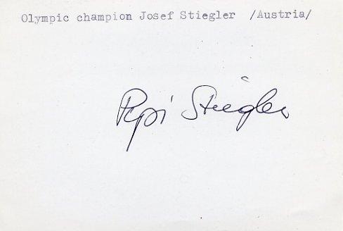 1964 Innsbruck Alpine Skiing Gold JOSEF STIEGLER Autograph