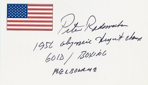 1956 Melbourne Boxing Gold PETER RADEMACHER Autographed Card
