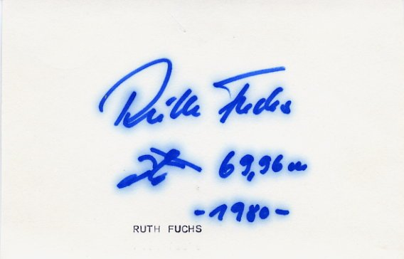 1972 Munich & 1976 Montreal Athletics Javelin Gold RUTH FUCHS Autograph 1980