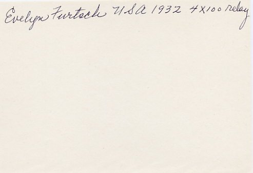 1932 Los Angeles Athletics 4x100m Relay Gold EVELYN FURTSCH Autograph