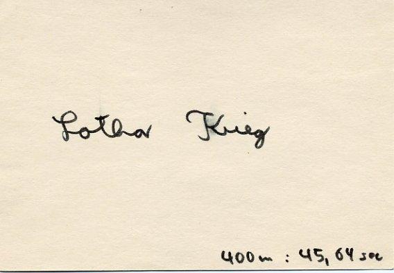1976 Montreal Athletics 4x400m Relay Bronze LOTHAR KRIEG Autographed Card