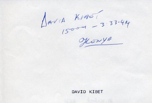 Kenya - 1992 Barcelona 1500m Olympian DAVID KIBET Autograph