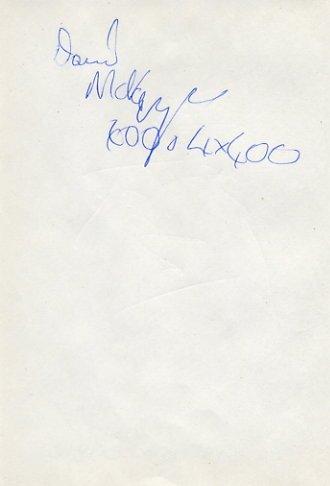 1994 European Championships 4x400m Relay Gold DAVID Mc KENZIE Autograph