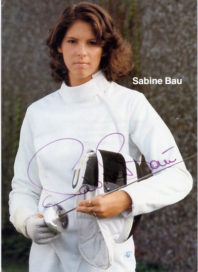 1988-2000 Fencing Five Olympic Medals SABINE BAU Autographed Photo 1986
