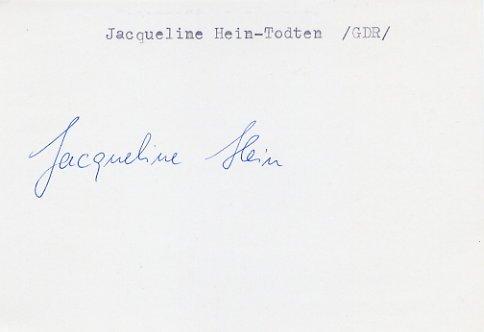 1972 Munich Athletics Javelin Silver JACQUELINE TODTEN  Autograph
