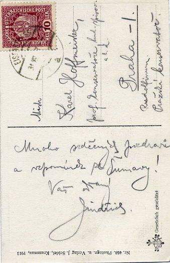 Czech Composer JINDRICH JINDRICH Autographed Postcard to Pianist Karel Hoffmeister