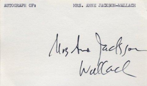 American Actress ANNE JACKSON WALLACH  Autograph 1970s