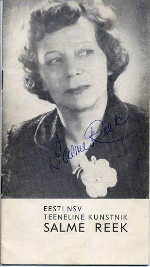 Estonian Actress SALME REEK Autographed Brochure 1969