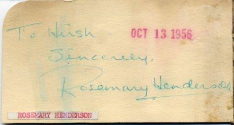 1950s Ice Capades Skating Star ROSEMARY HENDERSON Autograph 1956