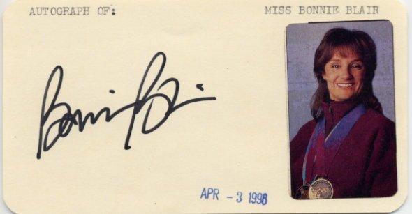 1988-1994 Speed Skating Champion BONNIE BLAIR Autographed Card 1998