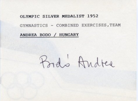 1956 Melbourne Gymnastics Gold ANDREA BODO Autographed Card 1980s