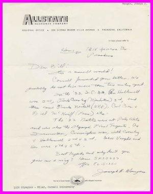 1936 Millrose Games Wanamaker Mile Champion JOSEPH MANGAN Autograph Letter Signed