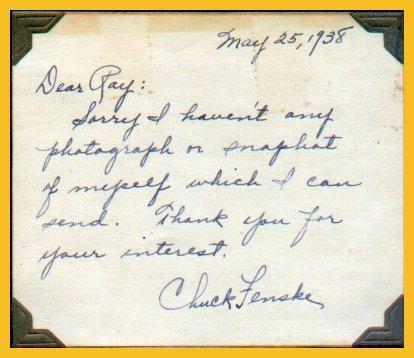 1940 Millrose Games Wanamaker Mile Champion CHUCK FENSKE Autograph Note Signed 1938
