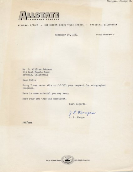 1936 Millrose Games Wanamaker Mile Champion JOSEPH MANGAN Typed Letter Signed 1961