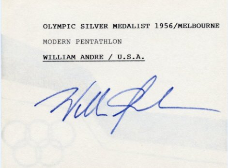 1956 Melbourne Modern Pentathlon Silver WILLIAM ANDRE Autographed Card 1980s