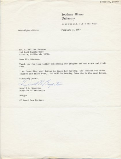 Southern Illinois Athletic Director DONALD BOYDSTON Typed Letter Signed 1967