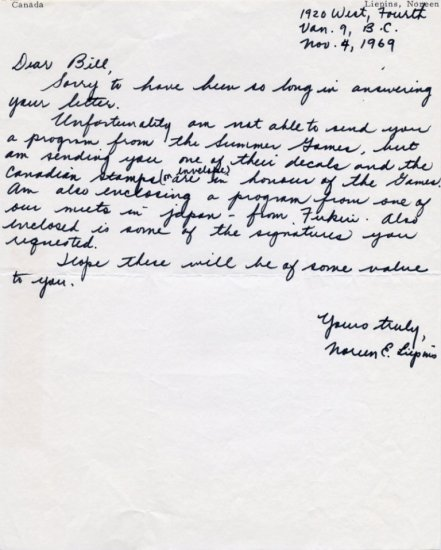Canada - 1963 Pan American Games 800m Bronze NOREEN DEULING LIEPINS Autograph Letter Signed 1969