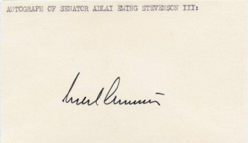 Illinois Senator ADLAI STEVENSON III Autographed Card 1970s #2