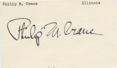 Illinois Rep & 1980 Pres Cand PHILIP M. CRANE Hand Signed Card 1970s