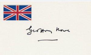 British Politician GEOFFREY HOWE  Autographed Card #2