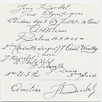 1948 London Athletics 4x400m Relay Silver JEAN KEREBEL Autograph Note Signed #2