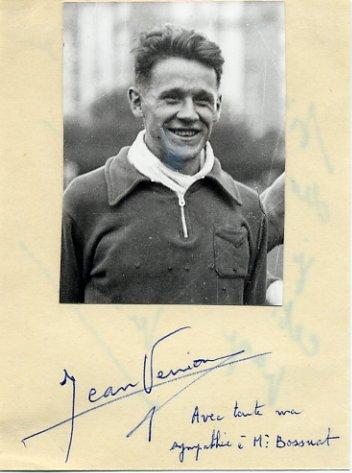 1948 London & 1952 Helsinki Athletics 1500m Olympian JEAN VERNIER Autographed Card