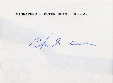 1972 Munich Sailing Bronze PETER DEAN Autographed Card 1980s