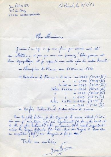 1948 London & 1952 Helsinki Athletics 1500m Olympian JEAN VERNIER Autograph Letter Signed 1983