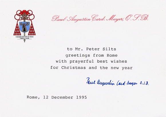 PAUL AUGUSTIN Cardinal MAYER, O.S.B. Hand Signed Card 1995