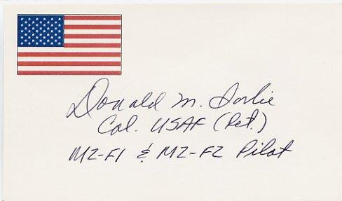 American Test Pilot DON SORLIE Autographed Card 1996