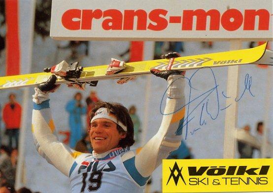 1988 Calgary Alpine Skiing Silver & 1987 World Champion FRANK WORNDL Signed Photo 1987