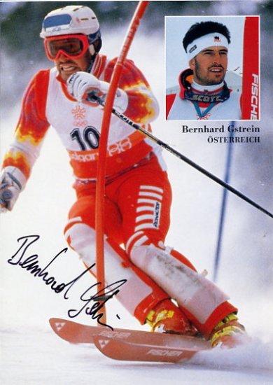 1988 Calgary Alpine Skiing Silver BERNHARD GSTREIN Hand Signed Photo