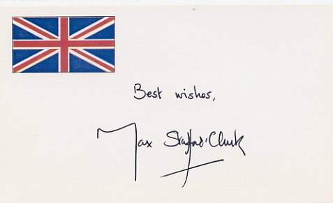 English Theatre Director MAX STAFFORD-CLARK Hand Signed Card 1996